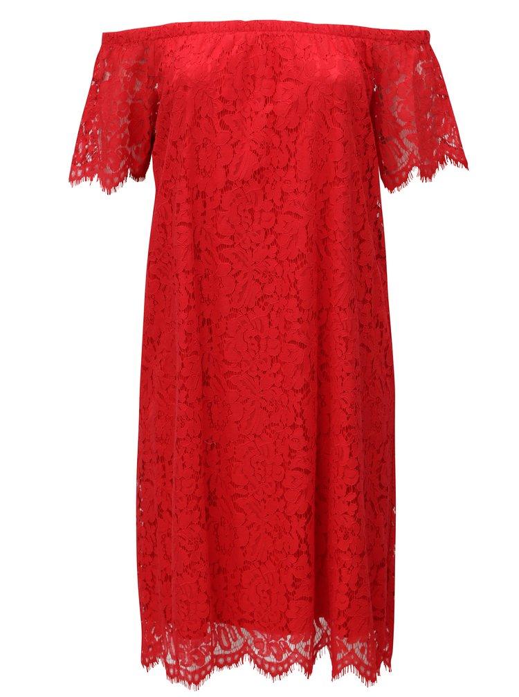Červené krajkové šaty s odhalenými rameny Zizzi