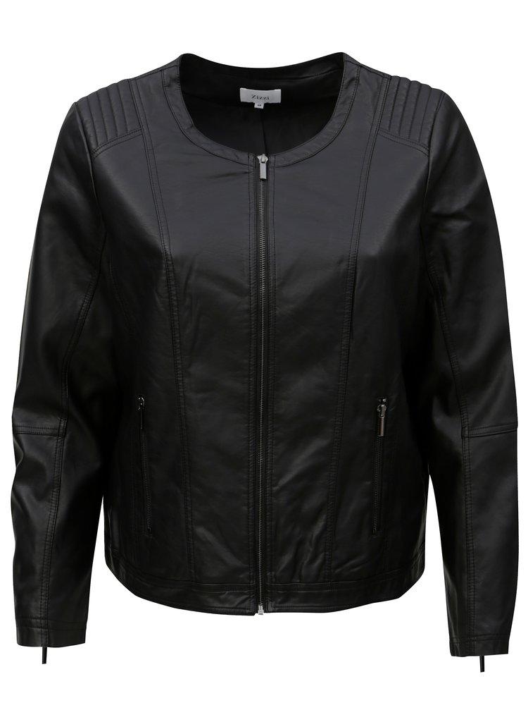 Jacheta neagra de dama din piele sintetica Zizzi
