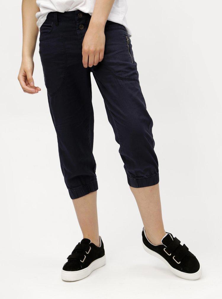 Tmavě modré lněné 3/4 kalhoty s kapsami VERO MODA Connie