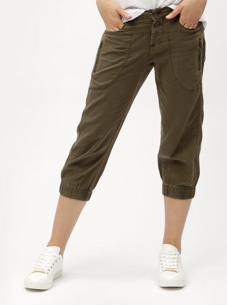 Khaki lněné 3/4 kalhoty s kapsami VERO MODA Connie