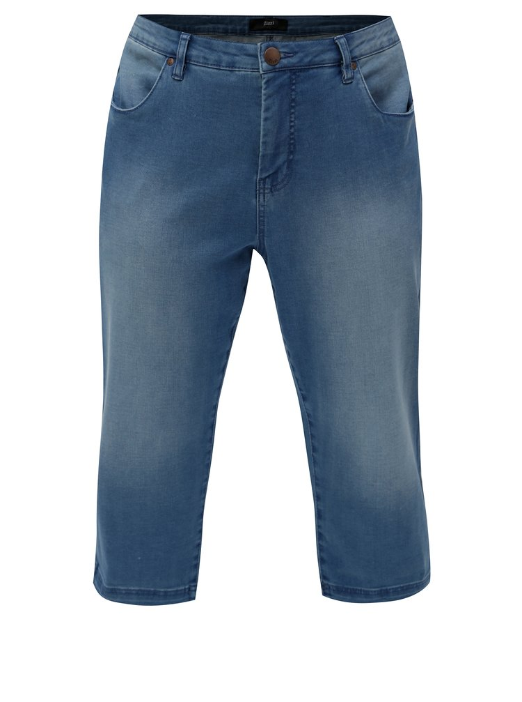 Pantaloni albastri scurti regular slim din denim Zizzi