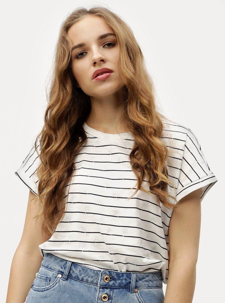 Bílé pruhované tričko VERO MODA Helmer