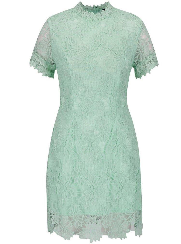 Světle zelené krajkové šaty s krátkým rukávem AX Paris