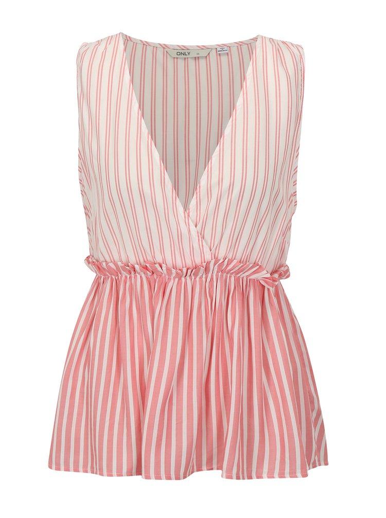 Bílo-růžová pruhovaná halenka ONLY Sailor