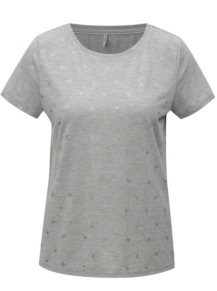 Šedé tričko s potiskem ONLY New Isabella
