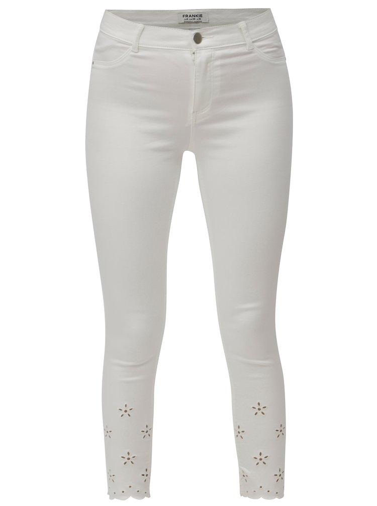 Blugi albi skinny crop din denim cu decupaje pe picioare Dorothy Perkins Frankie