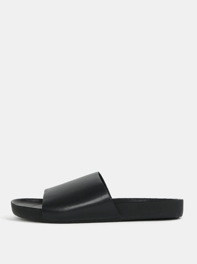 Papuci negri din piele naturala pentru barbati Vagabond Funk