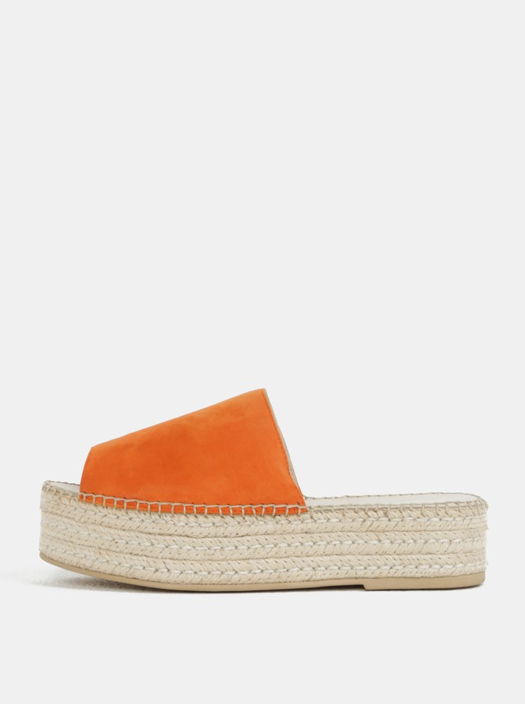 Papuci de dama oranj din piele intoarsa cu platforma Vagabond Celeste
