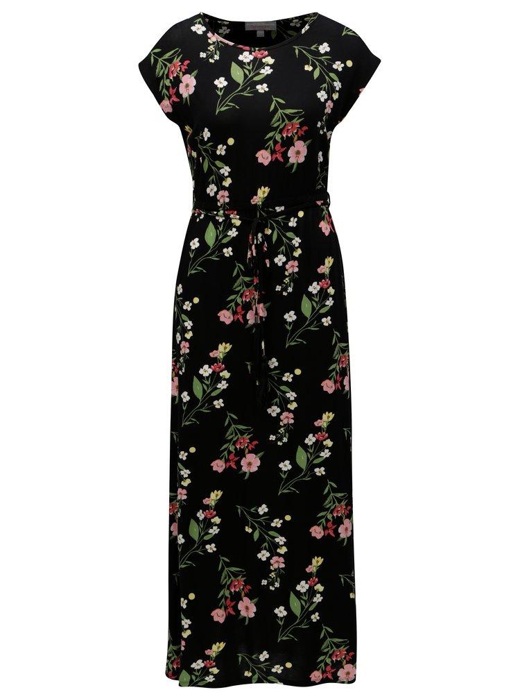 Čierne kvetované maxišaty s gumou v páse Dorothy Perkins Petite