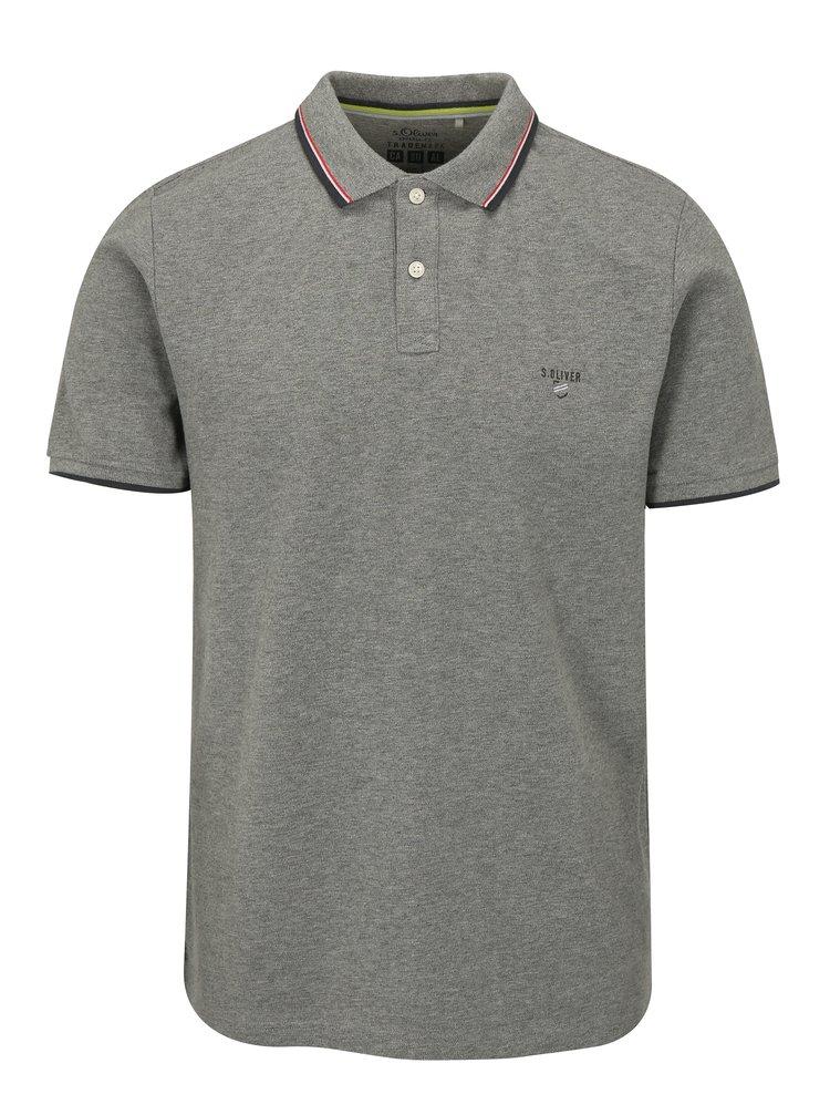 Šedé pánské žíhané slim fit polo tričko s.Oliver
