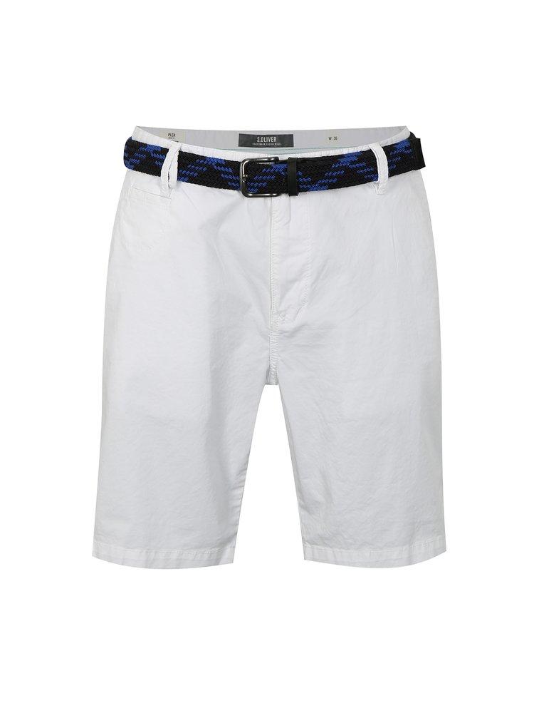 Pantaloni barbatesti scurti albi loose fit cu curea s.Oliver