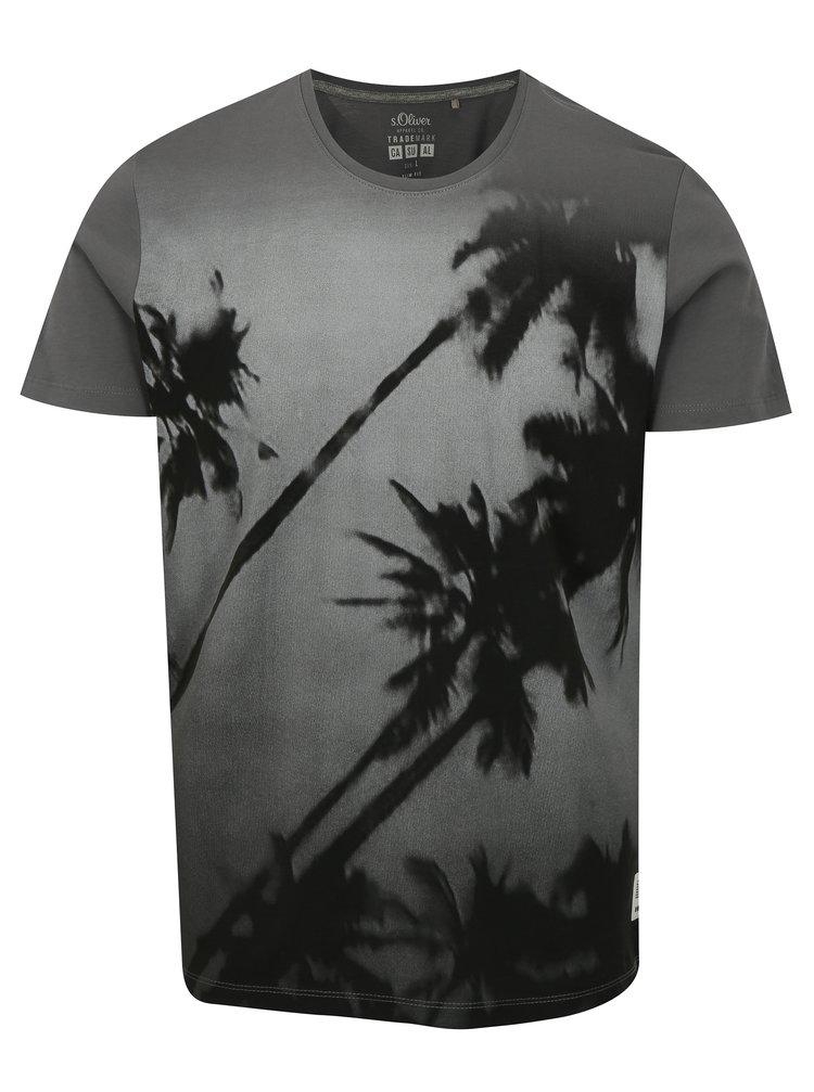Sivé pánske tričko s motívom palmy s.Oliver