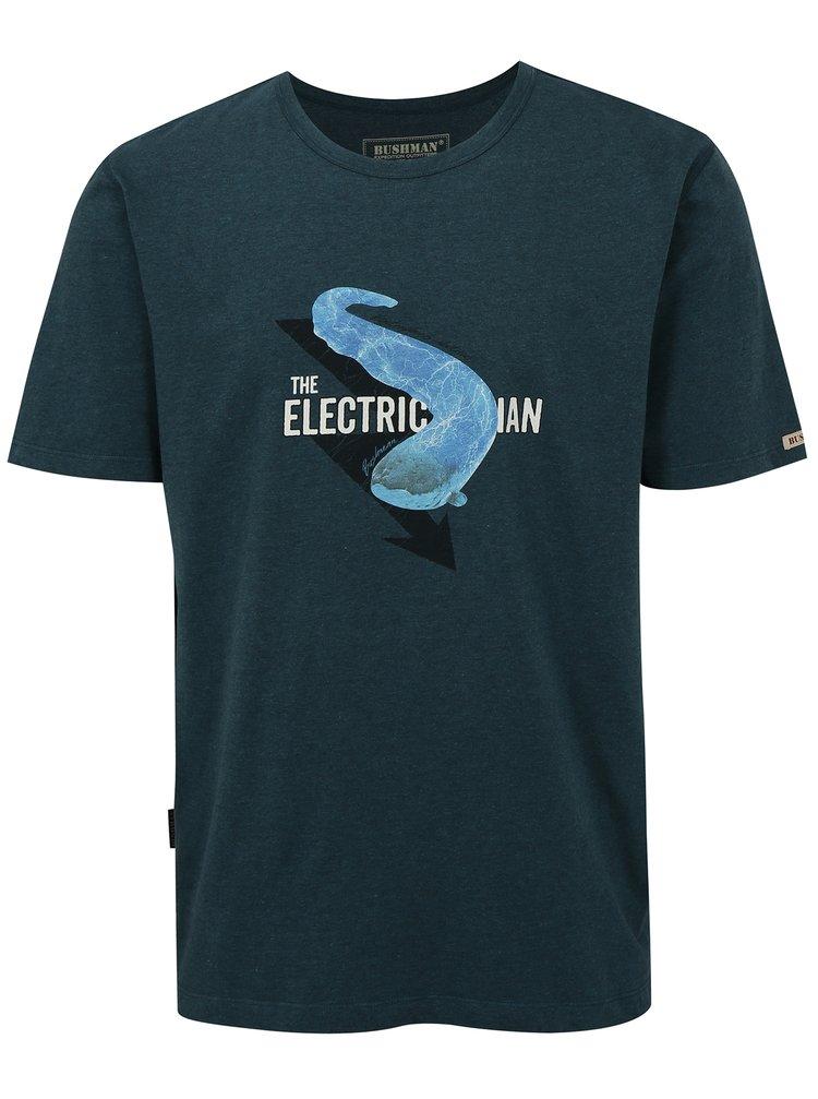 Petrolejové pánské tričko s potiskem úhoře BUSHMAN Aulac