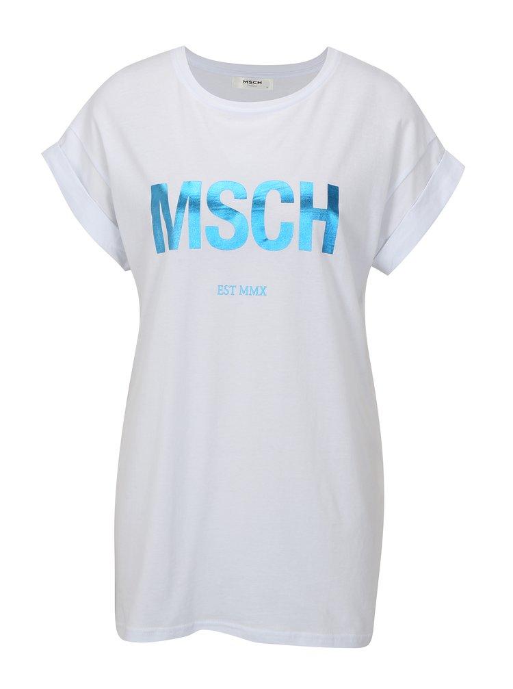 Bílé volné tričko s potiskem v modré barvě Moss Copenhagen Alva