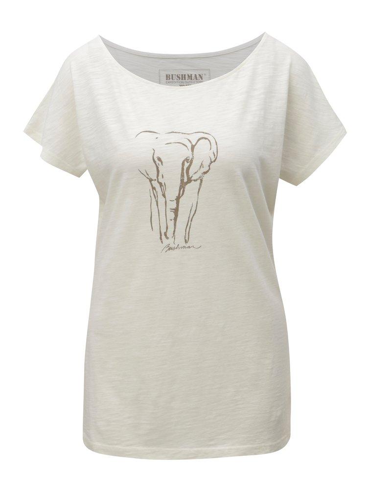 Krémové dámské tričko s potiskem slona BUSHMAN Galleria
