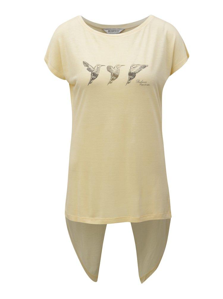 Světle žluté dámské tričko s překládanými zády BUSHMAN Fruita