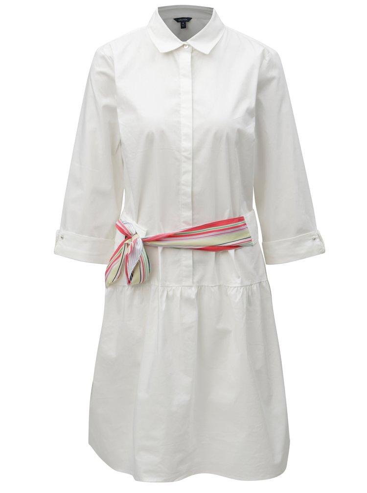 Bílé košilové šaty s páskem Nautica Knee