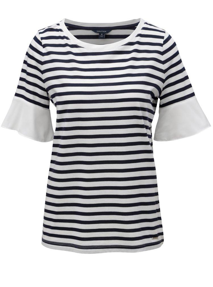Modro-biele pruhované tričko s volánmi na rukávoch Nautica