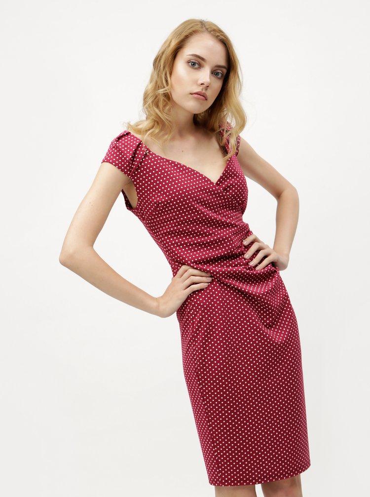 Vínové puntíkované šaty s překládaným výstřihem ZOOT