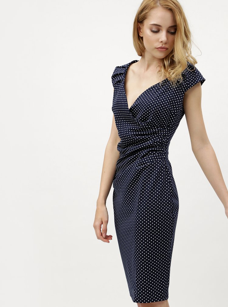 Rochie albastru inchis, cu buline si cu decolteu suprapus ZOOT