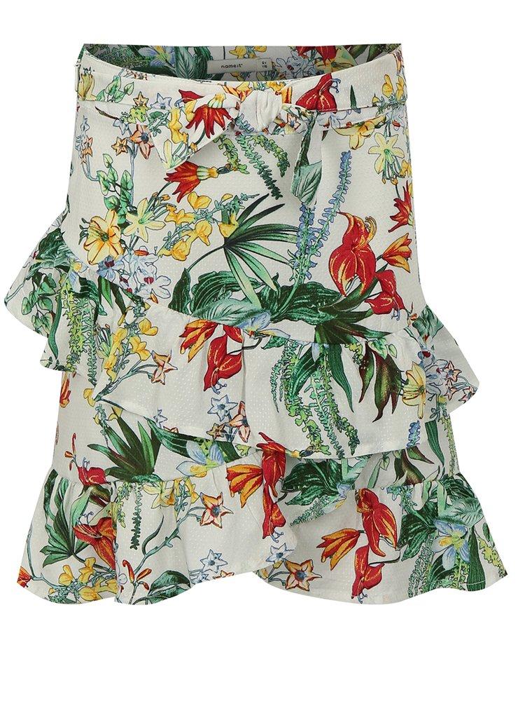 Zeleno-bílá holčičí květovaná sukně s volány name it Jessie