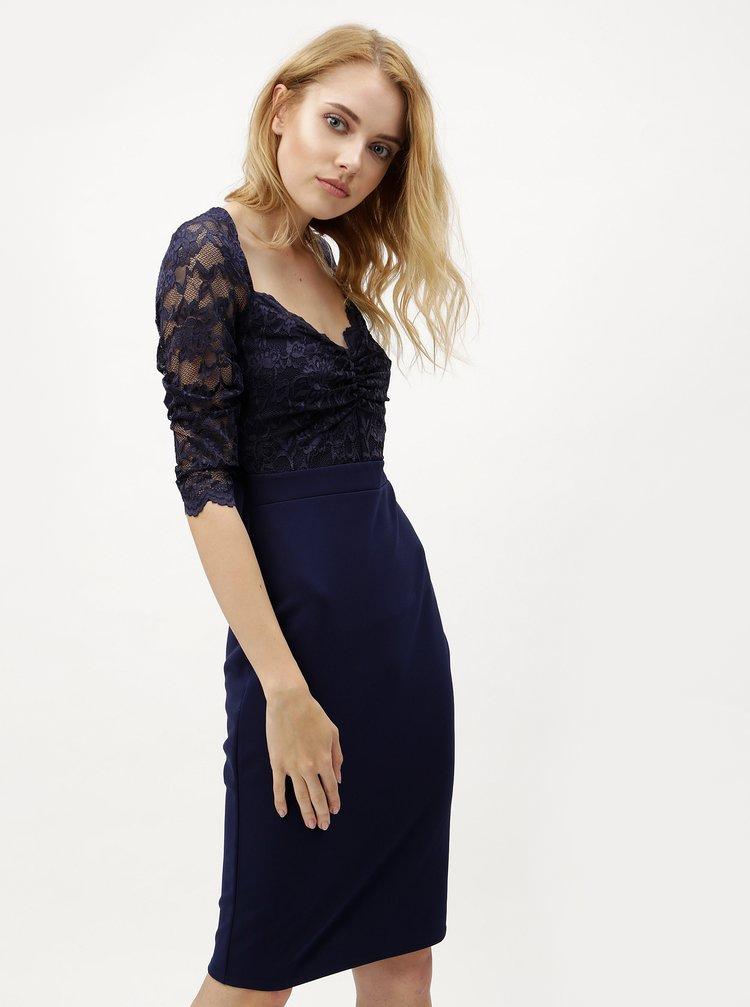 Tmavě modré šaty s krajkovým topem ZOOT