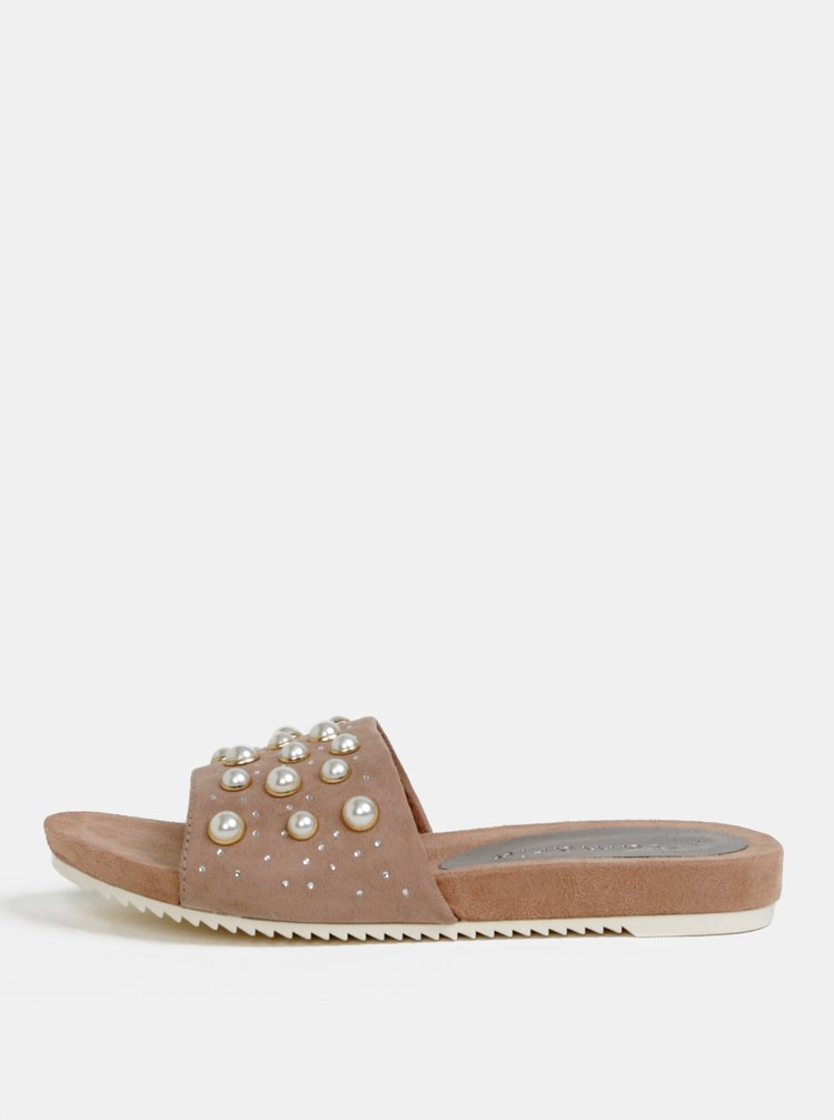 Papuci roz prafuit cu aplicatie Tamaris