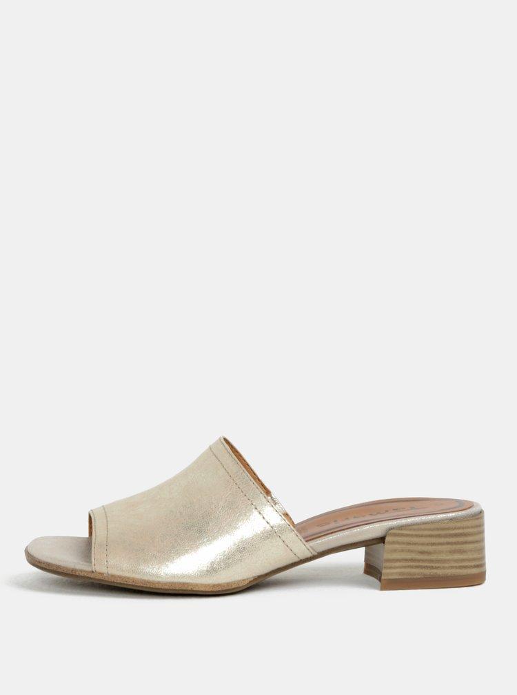 Kožené pantofle na podpatku ve zlaté barvě Tamaris