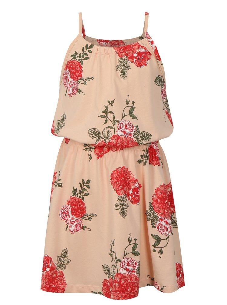 Meruňkové holčičí květované šaty s gumou v pase name it Vigga