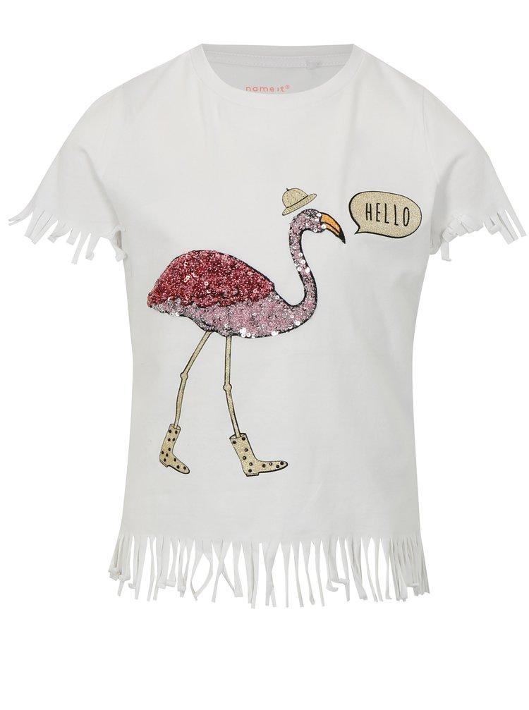 Bílé holčičí tričko s třásněmi name it Johanne