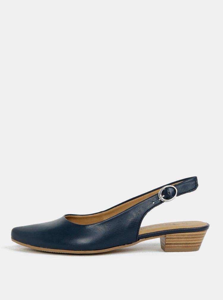 Tmavě modré kožené sandálky s otevřenou patou Tamaris