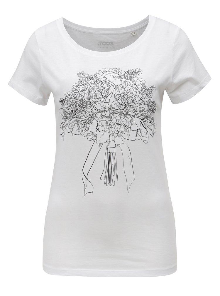 Bílé dámské tričko s potiskem ZOOT Kytice