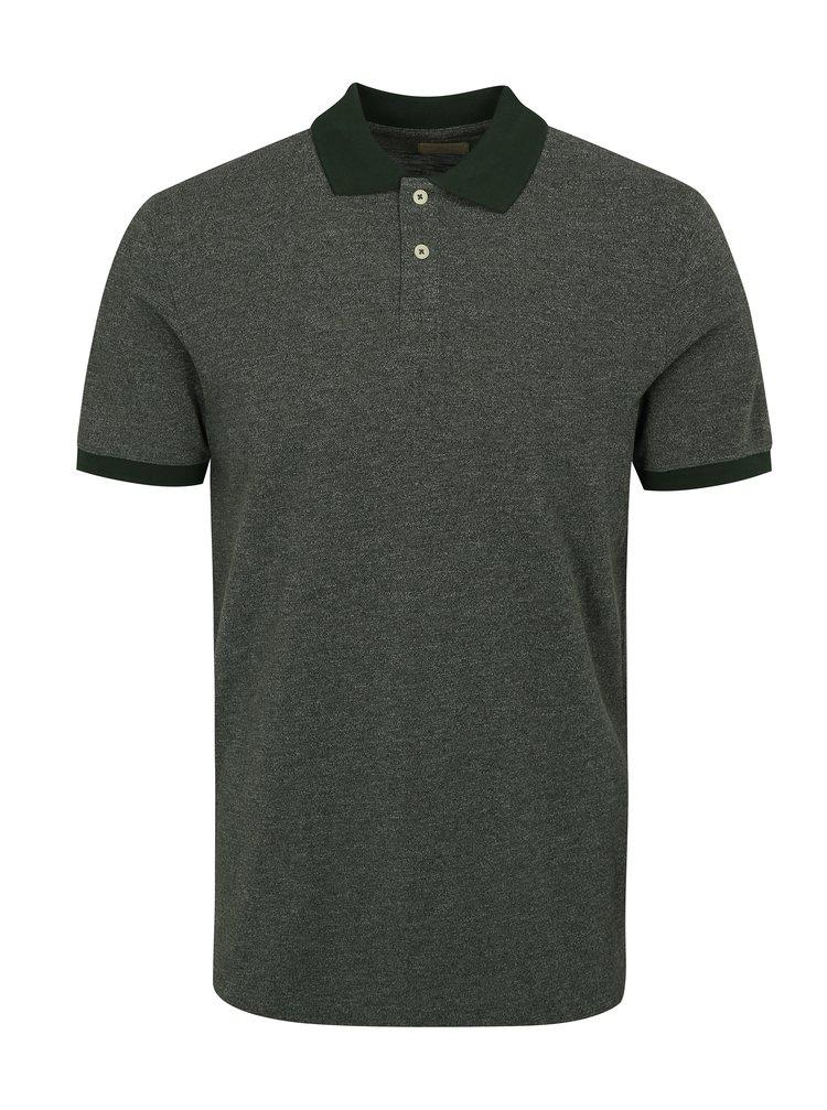 Zelené polo tričko Selected Homme Slub