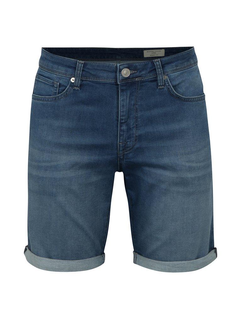 Pantaloni scurti albastri straight fit din denim Selected Homme Lucas