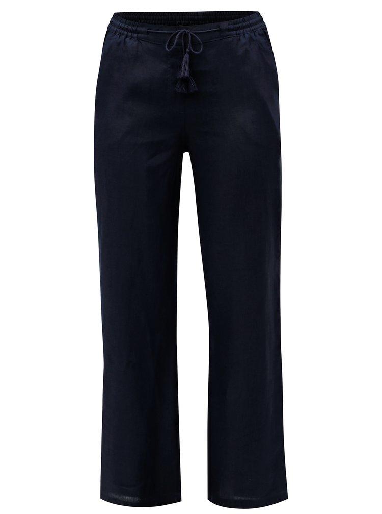 Tmavě modré volné lněné kalhoty Ulla Popken
