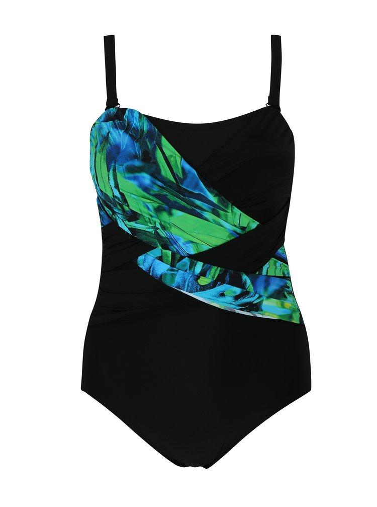 Zeleno-černé jednodílné plavky s odepínatelnými ramínky Ulla Popken