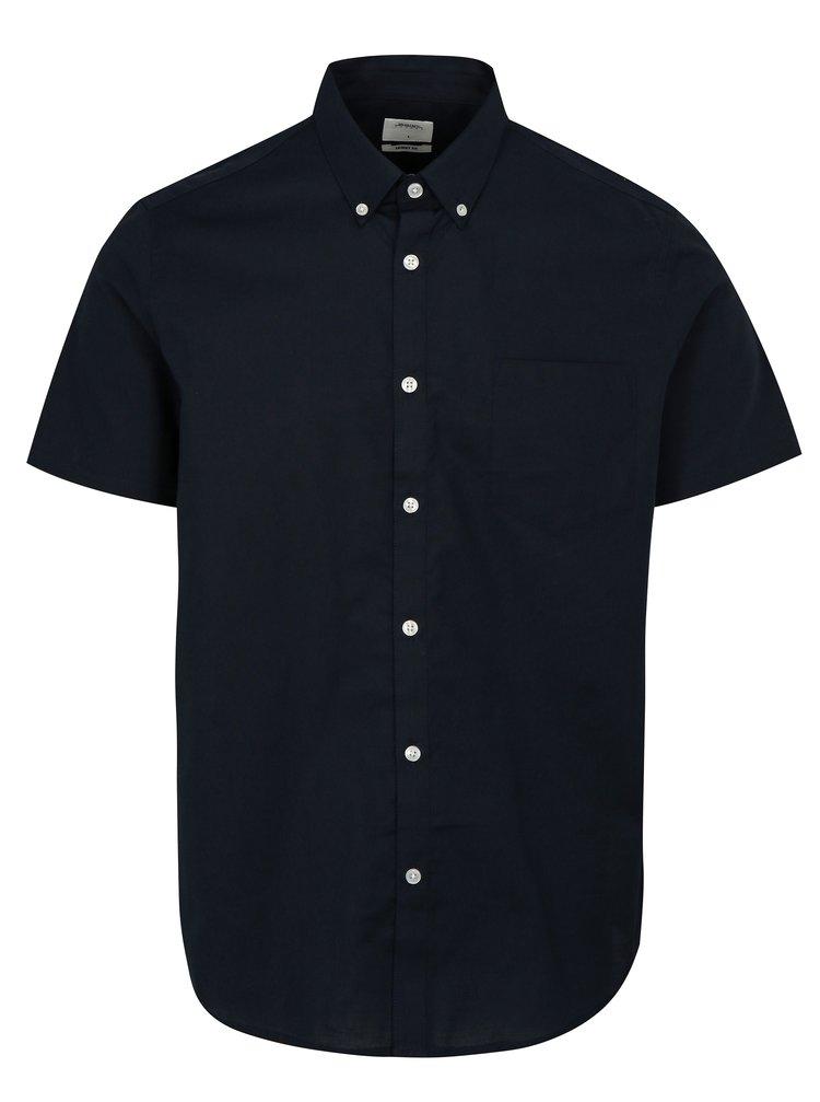 Camasa albastru inchis skinny fit cu maneci scurte Burton Menswear London