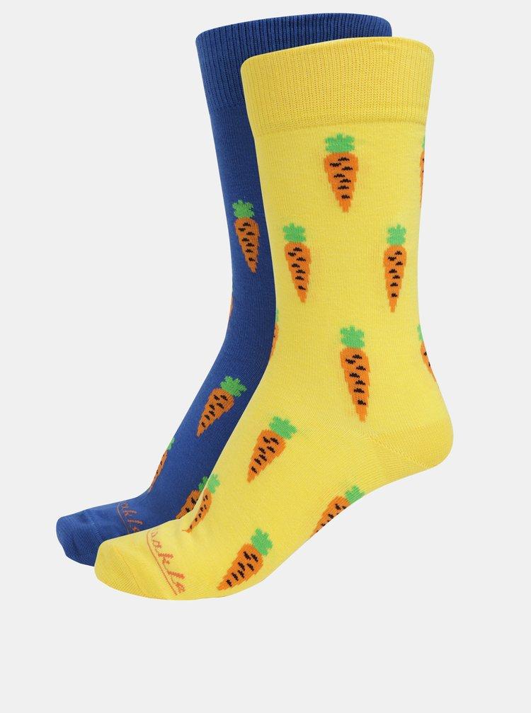 Modro-žluté unisex ponožky s motivem mrkve Fusakle Mrkváč