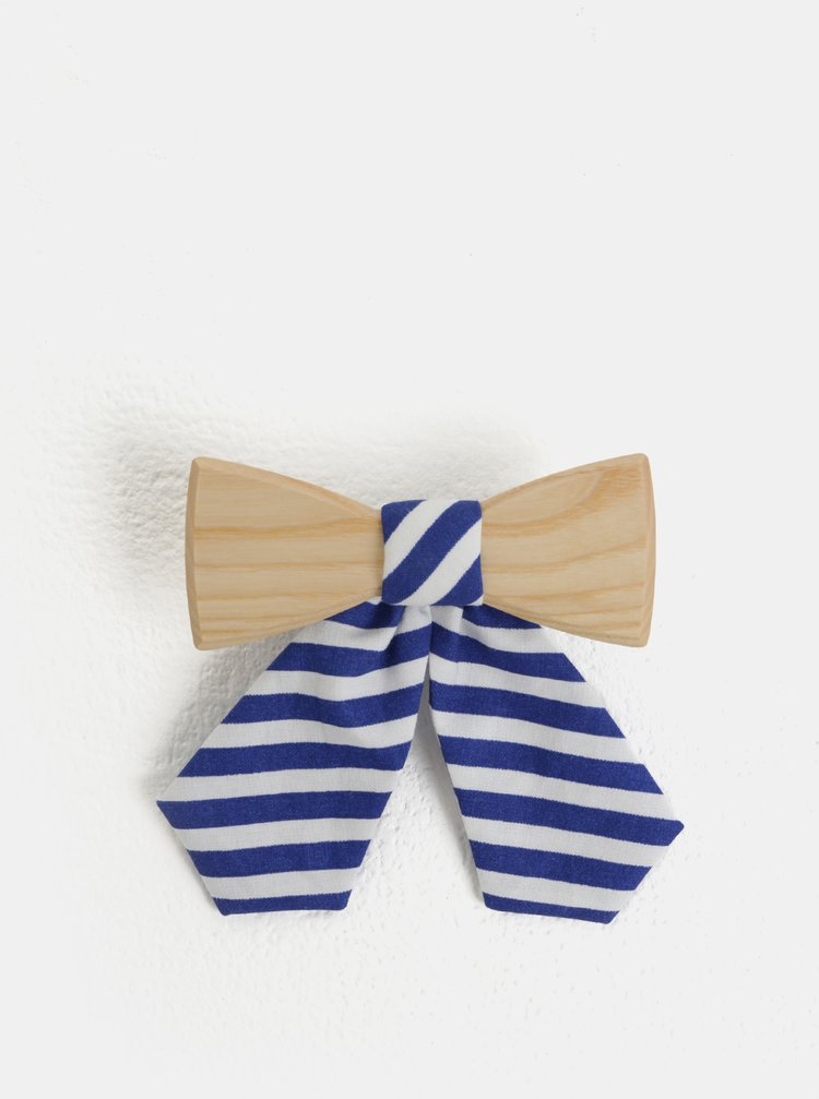 Papion de dama crem-albastru din lemn cu funda in dungi BeWooden Grea