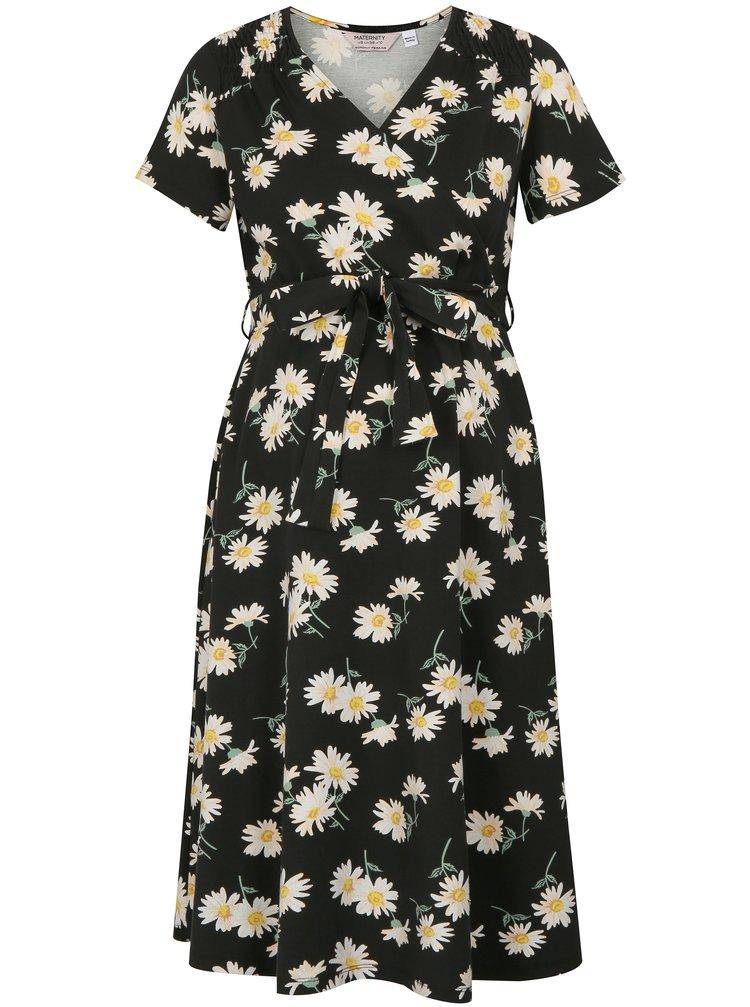 Krémovo-černé těhotenské/kojicí květované šaty Dorothy Perkins Maternity