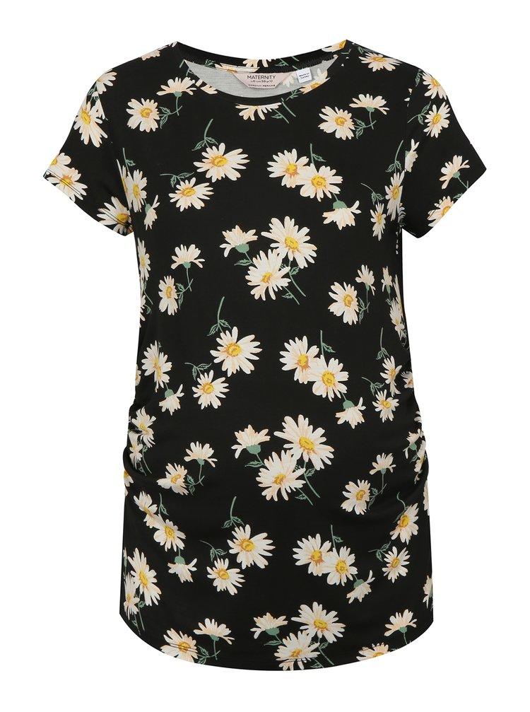 Krémovo-černé květované těhotenské tričko Dorothy Perkins Maternity