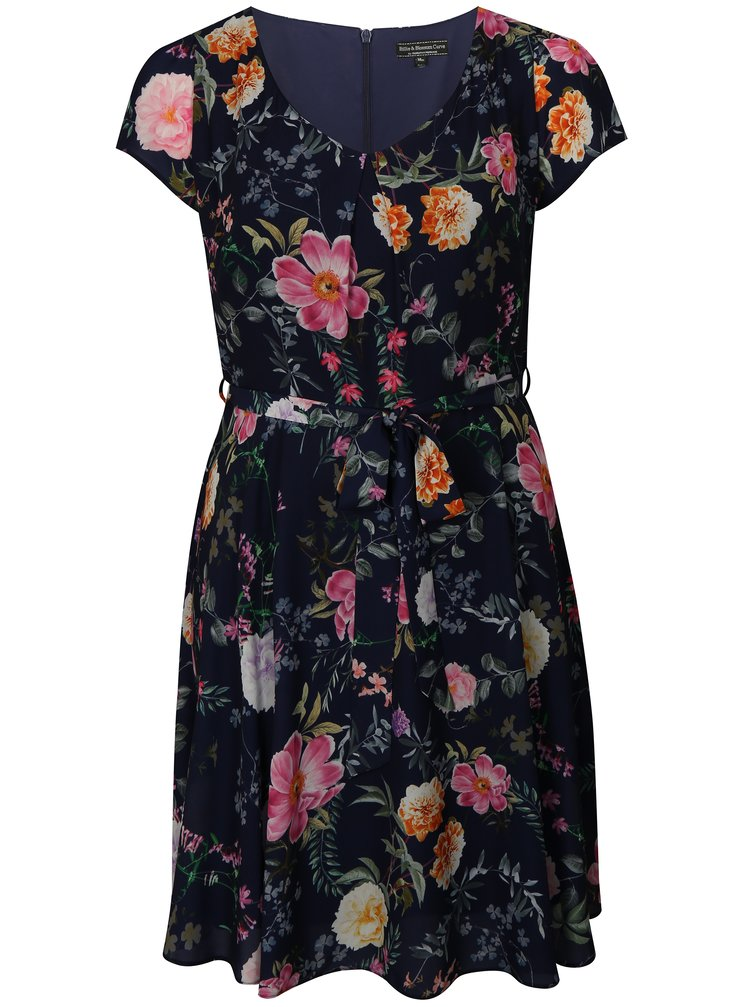 Tmavě modré květované šaty Billie & Blossom Curve