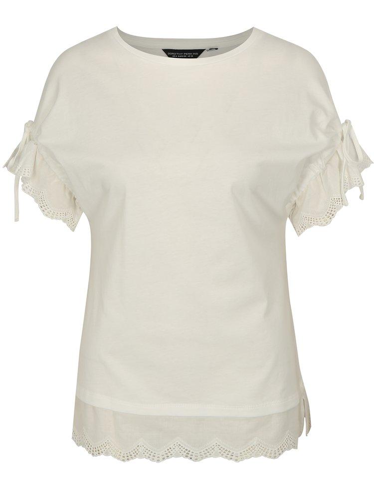 Krémové tričko se stahováním na ramenou Dorothy Perkins