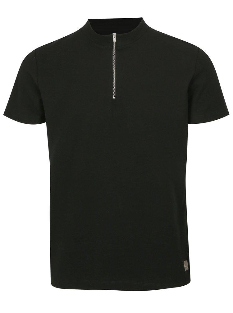 Černé tričko se zipem Lindbergh