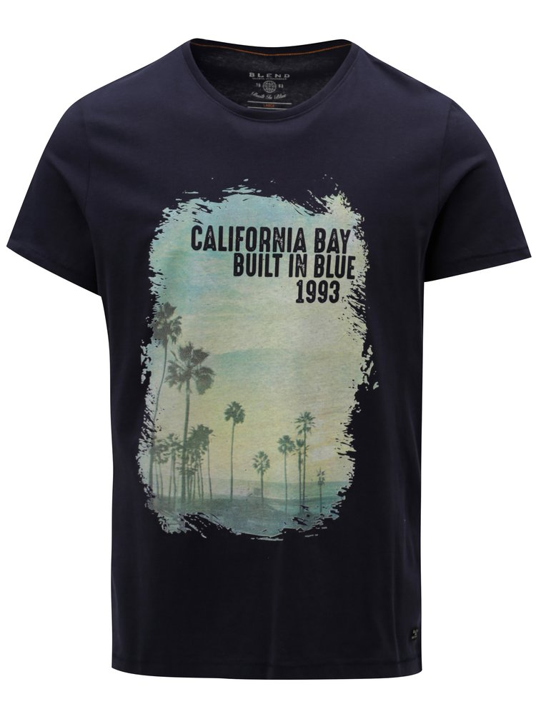 Tmavomodré regular fit tričko s potlačou Blend