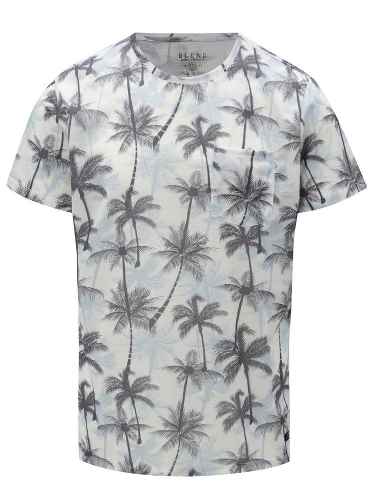 Tricou alb-albastru slim fit cu model de palmieri Blend