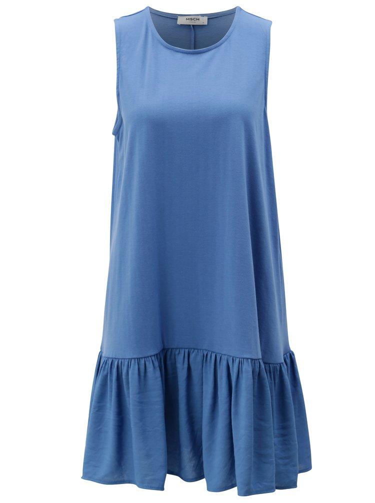 Modré volné šaty s volánem Moss Copenhagen