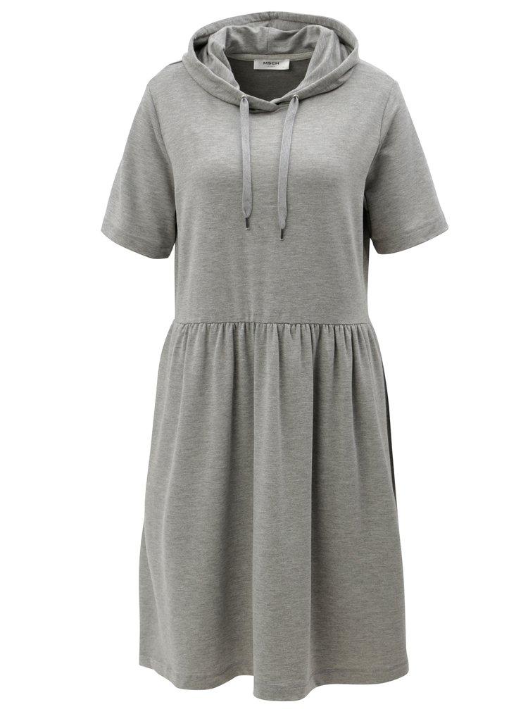 Šedé volné žíhané mikinové šaty s kapucí Moss Copenhagen