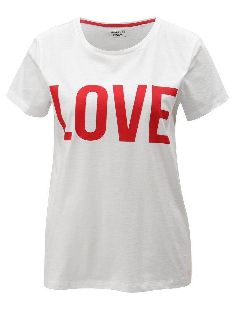Tricou alb cu print ONLY RIVA Love