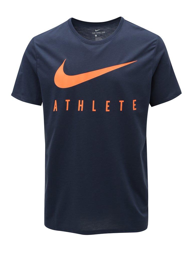 Tmavě modré pánské funkční tričko s potiskem Nike Athlete